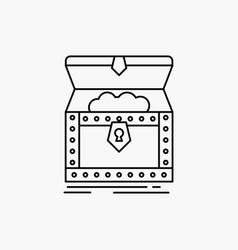 Box chest gold reward treasure line icon isolated vector