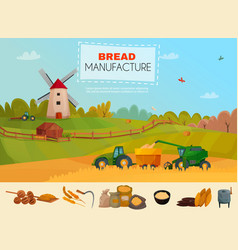 Bread manufacture poster vector