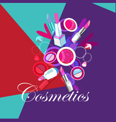bright poster with cosmetics lipstick on vector image