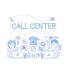 Call center customer service theme icons related vector