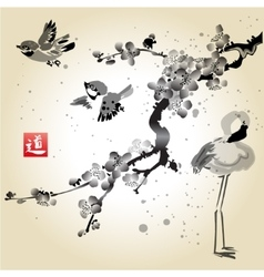 Card with sakura in the bird and flamingos vector image