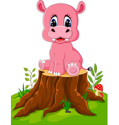 Cartoon cute baby hippo on tree stump vector