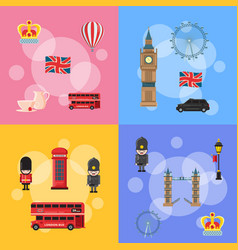 Cartoon london sights and objects concept vector