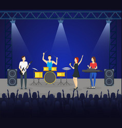 cartoon music band on stage card poster vector image vector image