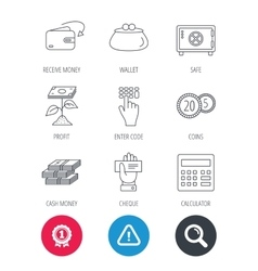 Cash money safe box and calculator icons vector