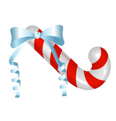 christmas candy cane with a bow cheerful vector image