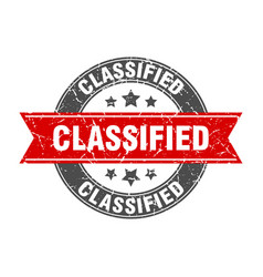 Classified round stamp with red ribbon classified vector