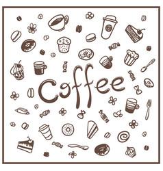 coffee doodles set vector image
