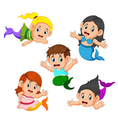collection of children wearing mermaid costumes vector image