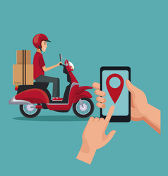 Color background with man worker in scooter and vector