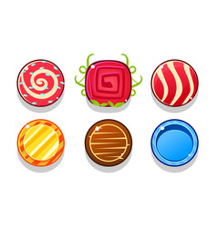 colorful glossy balls set shiny candies game vector image