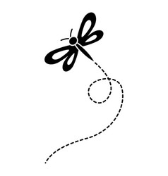 cute flying dragonfly natural animal vector image