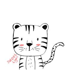 Cute tiger print design with slogan vector