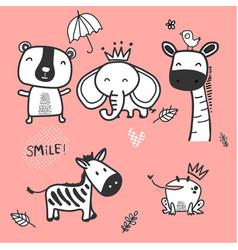 doodle cute wild animal character zebra vector image