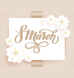 elegant greeting card 8 march international vector image