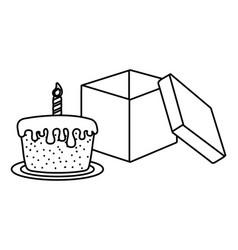 empty open box black and white vector image