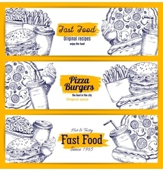 Fast food sketch banners set vector image