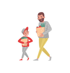 father and son with shopping bags bearded man and vector image
