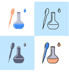 flask and pipette icon set in flat and line style vector image