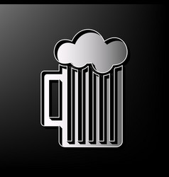 Glass of beer sign gray 3d printed icon vector