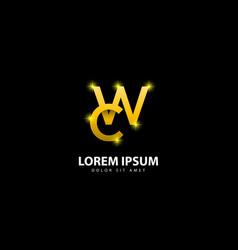Gold letter w logo wc letter design with golden vector
