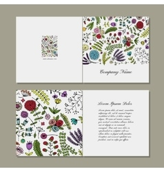Greeting card floral design vector