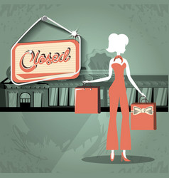 group of women in shopping day style retro vector image