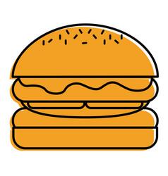 hamburger bread bun lettuce and cheese fresh vector image