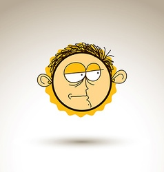 Hand drawn cartoon melancholy boy Web avatar theme vector