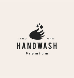 hand wash water drop hipster vintage logo icon vector image