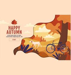 happy autumn typography calligraphy poster vector image