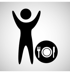 happy man with sign restaurant icon vector image