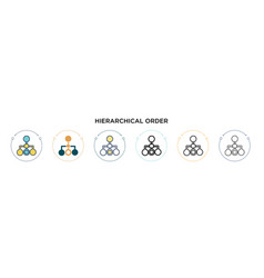 Hierarchical order icon in filled thin line vector