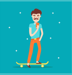 Hipster character on longboard with a mobile phone vector