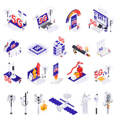 Internet 5g technology isometric set vector