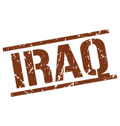 Iraq brown square stamp vector