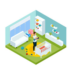 Isometric colorful children care template vector