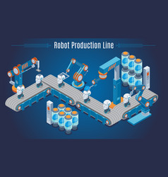 Isometric robot production line template vector