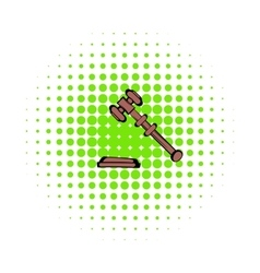 Judge gavel icon comics style vector