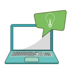 laptop social media bubble speech idea vector image
