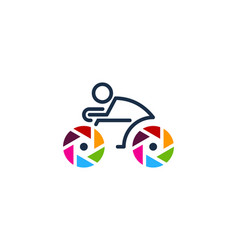Lens bike logo icon design vector
