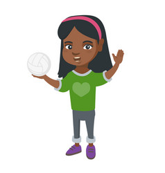 little african girl holding a volleyball ball vector image