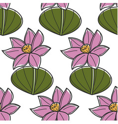 lotus water flower seamless pattern vietnam symbol vector image