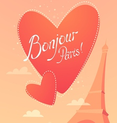 Love in paris bonjour paris vector