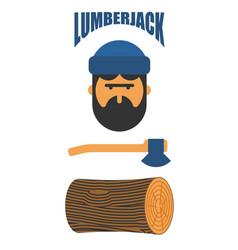 Lumberjack icon set woodcutter sign lumberman vector