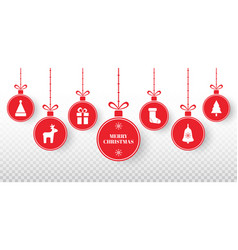 merry christmas balls set on transparent vector image