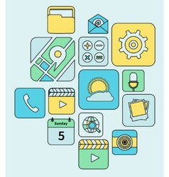 Mobile applications icons flat line vector