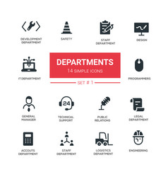 Office departments - line design icons vector