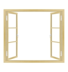 open wooden window vector image vector image
