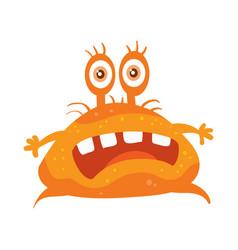 orange bacteria cartoon character icon vector image